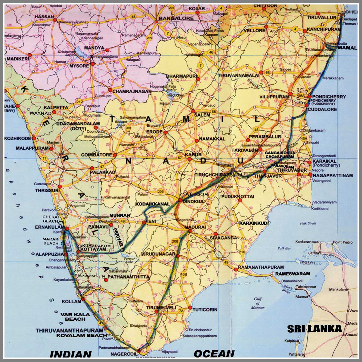 kaartzuidindiajpg – South India Map With Tourist Places